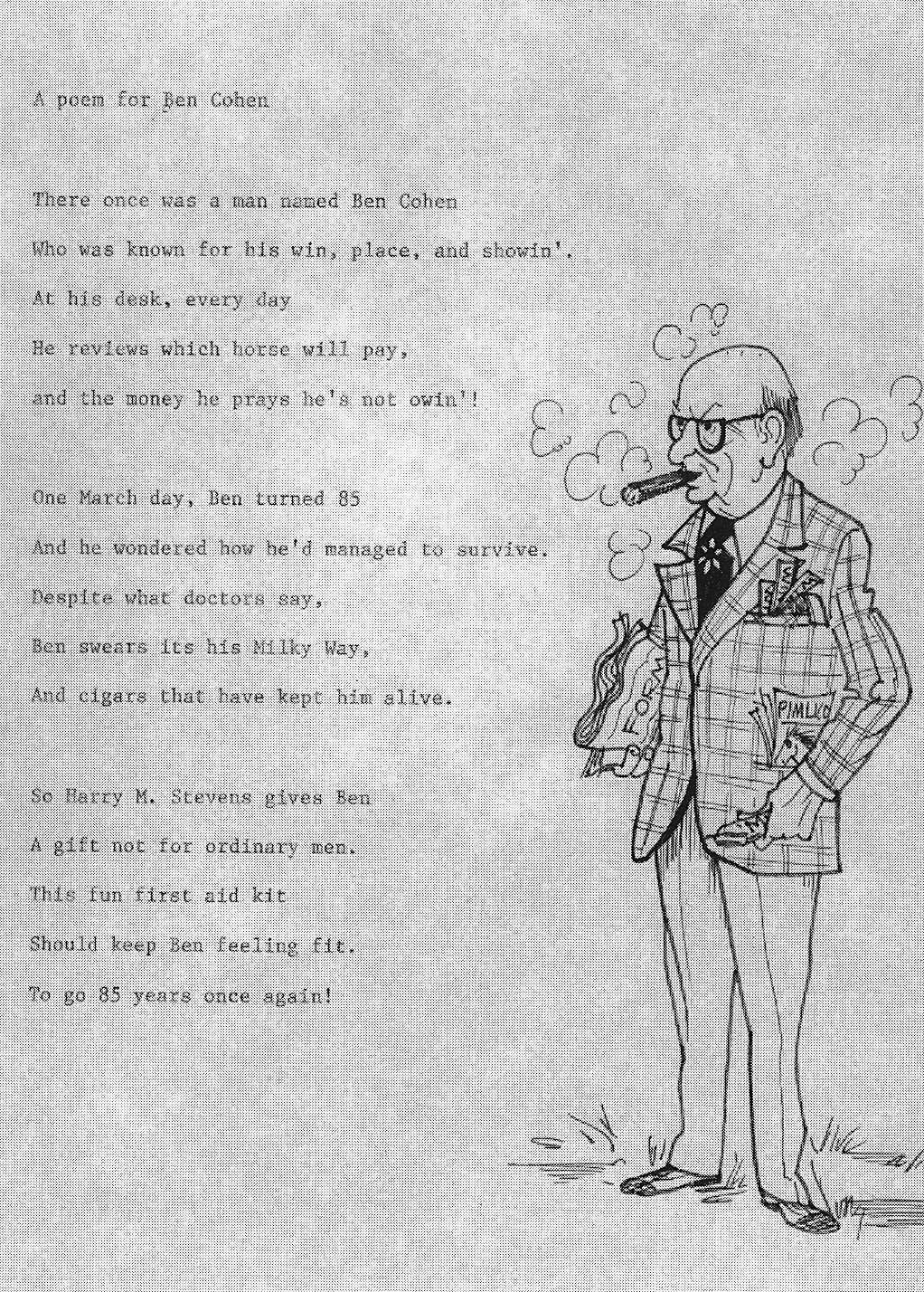 This Poem And Caricature Of Ben Cohen Was Presented To Him By Bill Koras On The
