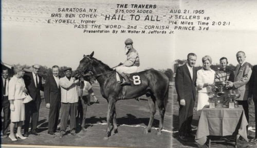 """""""Hail to All,"""" with jockey John Sellers after winning the Belmont Stakes at Saratoga Springs, NY, August 21, 1965. Gift of Zelda Cohen, JMM 1995.100.2."""