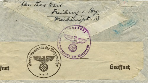 This envelope, which contained a letter that Hilda and Theo Weil sent to their daughters in Baltimore, bears German censor stamps certifying it was opened and inspected before leaving the country. Courtesy of Brenda Mandel, L2002.103.44.