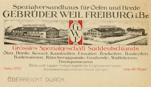 Advertising card from Gebrüder Weil Freiburg, Theo Weil's business, which distributed stoves, ovens, and other metal products. Courtesy of Brenda Mandel, L2002.103.137a.