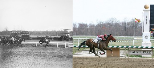 Laurel Park race track in 1929 and 2007. (Left) Washington Handicap race at the Laurel Racetrack, October 23, 1929. Photo by Harris & Ewing; courtesy of the Library of Congress. (Right) Horse racing at Laurel Race Track, March 31, 2007. Photo by Keith Allison, via Wikimedia Commons.