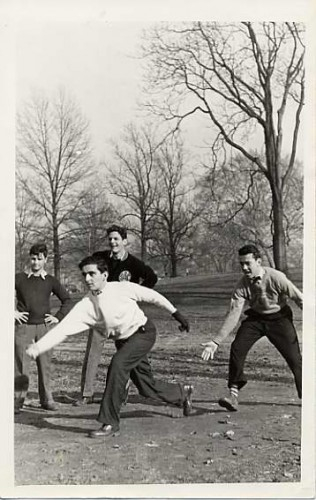 Jewish boys playing softball in Druid Hill Park, c. 1938. JMM 1987.19.5 Pictured are: Eddie Schunick, Melvin Kerber, Stanley Berngartt (Stanford Reed), and Robert Blaney.
