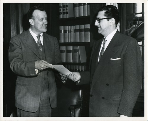 Governor Theodore McKeldin and Harry Diamond, Baltimore City Manager for the State of Israel Bond Sale, 1951. JMM 1989.80.4