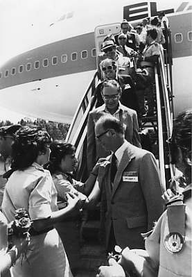 Sidney Lansburgh, Jr., President of the Associated Jewish Charities and Welfare Fund, is greeted upon his arrival in Israel for the Prime Minister's mission, 1973. JMM 1992.278.7a