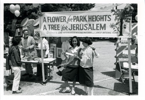 Two young girls show off their contributions to both the forests of Israel and the parks of Baltimore, 1985. JMM 1995.189.757