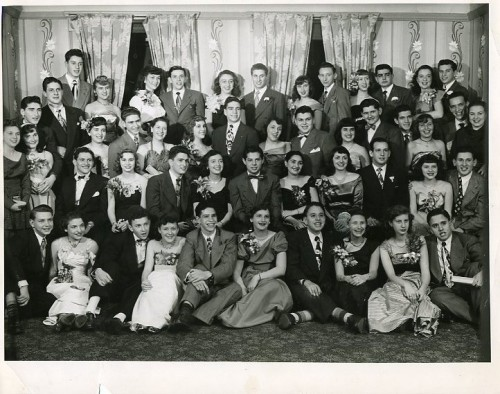Teens pose for a photo at the Aleph Zadik Aleph fraternity Sweetheart Dance in 1948. Gift of Charlotte Stein, JMM 1998.79.1.