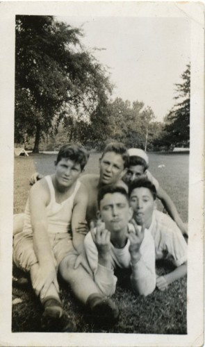 """Goofing around"" in Druid Hill Park, c. 1945. JMM 2009.7.1 Pictured includes Hy Zlotowitz (Hy Zolet) on left, back center is Royal Pollokoff."