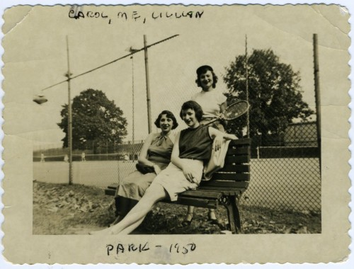 Marjorie Greenebaum, Carol Kastner Traub, and Lillian Donahue at the tennis courts in Druid Hill Park, 1950. JMM 2010.24.1
