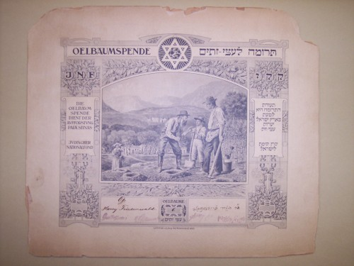 "Certificate presented to Dr. Harry Friedenwald for his contributions to the ""Olive Tree Fund"" of the Jewish National Fund, 1908. JMM T1989.79"