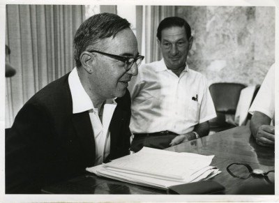 Lou Pincus (or Lon Pincus), Treasurer, Jewish Agency with Louis Fox (left) in Jerusalem, Israel, August 1967. JMM 2004.55.2