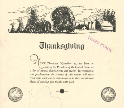 Here's the cover image for the November 18th, 1932 Baltimore Jewish Times.  Happy Thanksgiving!