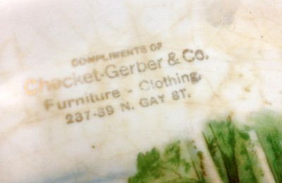 """""""Compliments of Checket-Gerber & Co., Furniture – Clothing, 237-39 N. Gay St.""""  Yes, the first e in """"Checket"""" is printed upside down."""