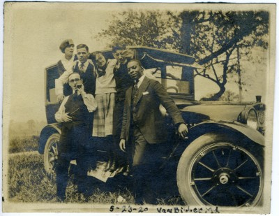 Unfortunately, what we're more likely to find in our collections is photo with no known names at all, or – like this photo – with only the white individuals identified.  In this case, while on a picnic in Harford County in 1920, Sylvan Eckhaus, Ruth Davis, Henry Hoffman, Miriam Davis, and Joe Naviaski posed with a young African American man, probably the driver. He looks in many ways like he's part of this jovial group – he even has a cigar to match Mr. Eckhaus's – but the fact that his name was not remembered hints that he was more likely a chauffeur, whose services and vehicle were hired for the day.  Gift of Betty N. Eckhaus. JMM 1992.7.14