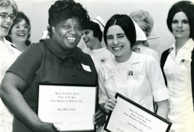 Nurses Mary Mead (left) and Esther Farber Dubin (right) received Sinai Hospital's Harry Greenstein Nurse of the Year award in 1971.  Gift of the Nurses Alumnae Association of Sinai Hospital. JMM 2010.20.193
