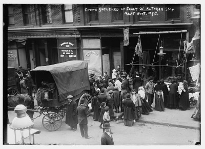 Crowd gathered in front of butcher shop during meat riot, New York, 1910. Courtesy of the George Grantham Bain Collection, Library of Congress.