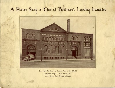 """Hendler's Creamery brochure, """"A Picture Story of One of Baltimore's Leading Industries: The Most Modern Ice Cream Plant in the World."""" Hendler's has been called the first fully automated ice-cream plant. Courtesy of Samuel Boltansky. JMM 2001.50.1"""