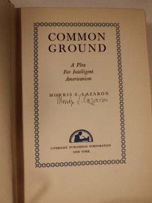 1938 Lazaron book on interfaith relations. JMM 1987.060.007