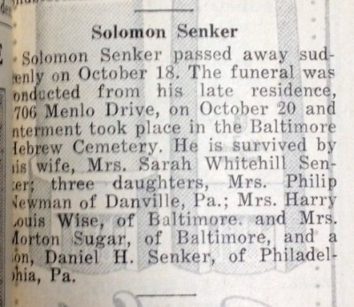 Thanks to Solomon Senker's obituary, we know that Hiram Herman's photograph and books were donated by his sister Beulah's children, Harriet Senker Sugar and Judith Senker Wise. From the Baltimore Jewish Times, October 22, 1948.