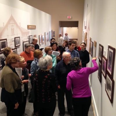 "Deborah leads a docent tour through ""Remembering Auschwitz"""
