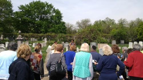 Oheb Shalom Cemetery on O'Donnell Street. The group stopped at the gravesite of the Szold family. Photo by Alex Malischostak