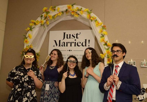 Interns having fun at the Just Married! photo arch! Photo by Will Kirk.