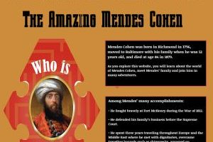 """An orange box with the words """"The Amazing Mendes Cohen"""" in black at the top of the box. Underneath on the left is an illustration of an interestingly shaped picture frame with maze-lines in it, with a painting of Mendes Cohen in the center. He is wearing a red robe and a white turban. On the right side of the orange box are two black boxes with white text, that are too small to read."""