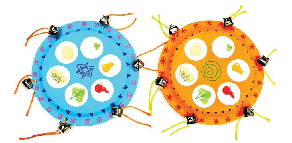 blue and orange passover tambourines