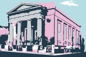 A graphic rendering of the exterior of the Lloyd Street Synagogue, a large building with columns. The building is pink and grey, with navy shadows and there's a light blue sky.