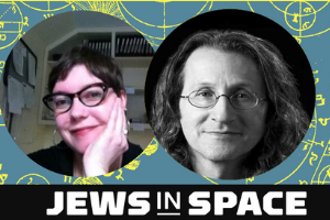 """A background of teal blue with yellow illustrations. A photo of a white woman with glasses, short hair, looking at the camera, her face in her hand. A black and white photo of a white man with glasses and long hair. Both are smiling. The words """"Jews in Space"""" in white on a black background on the bottom."""