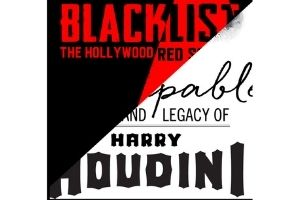 """Two square exhibit logos are cut in half diagonally, and combined together into this one image. The first logo, which is the top left corner, has the words """"Blacklist: The Hollywood Red Scare"""" in black and red text, on a back and red background. The other logo has the words """"Inescapable: The Life and Legacy of Harry Houdini"""" in black, on a white background."""