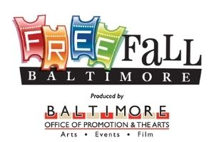 """The logo for Free Fall Baltimore, which has the word """"Free"""" written on tickets, the word """"Fall"""" written in black next to it, and the word """"Baltimore"""" in white on a black stripe. The log for the Baltimore Office of Promotion & the Arts which has red and beige blocks and the words """"Arts, Events, Film"""""""