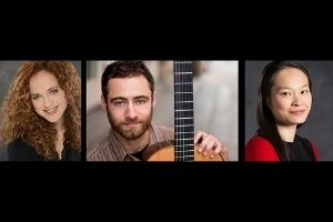 Three color photos of people on a black rectangle. The photo on the left is of a white woman with long, curly hair. The middle image is a white man with dark hair, and he holds a guitar. The image on the right is an Asian woman with long,dark hair.