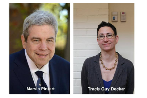 """On the left, a photograph of Marvin Pinkert, a white man with graying hair, wearing a suit and tie. He is smiling. The words """"Marvin Pinkert"""" are in white at the bottom. On the right, Tracie Guy-Decker, a white woman with dark hair, wears glasses, a necklace, a blazer, and a blue blouse. She is smiling. The words """"Tracie Guy Decker"""" are in white at the bottom."""