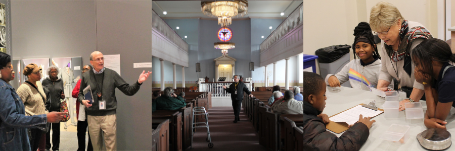 [Left] A tour guide points to part of the exhibit. A group of guests stand around him, listening. [Middle] A tour guide stands in the middle of the Lloyd Street Synagogue Sanctuary. Guests sit in the pews, listening to his presentation. [Right] An education volunteer stands at a table of school children, while they work on an education activity together.
