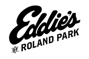 "A white rectangle with the words ""Eddie's of Roland Park"" in black on it."