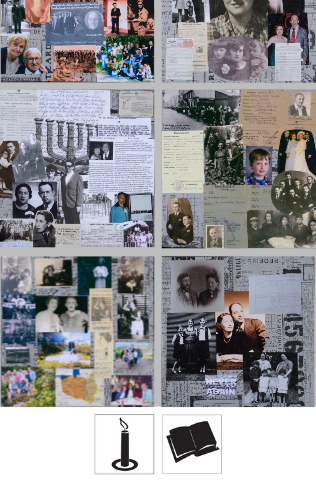 A collection of images of collages that include written documents, pictures, maps, and more. Each collage is different and represents a different person.