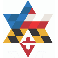 A six-sided star, or Star of David, that has a graphic design of the US flag and Maryland flag. The star has blue, red, yellow, black, and white in it.