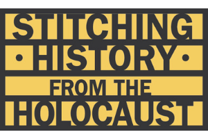 "A yellow rectangle with the words ""Stitching History from the Holocaust"" in black on it."