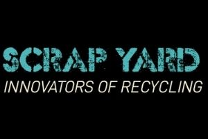 """A black rectangle with the words """"Scrap Yard: Innovators of Recycling"""" in blue and white on it."""