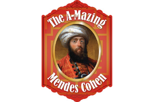 """A painting of Mendes Cohen, a white man with a long, dark beard, wearing red robes and white turban. He is framed by an illustration of a picture frame that has a maze-like design in red and yellow. The words """"The A-Mazing Mendes Cohen"""" are written in white around the painting."""