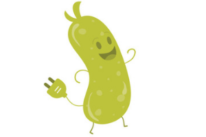A graphic illustration of an anamorphic pickle. The pickle is smiling and has an electric plug coming out of it.