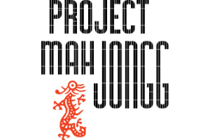 """A white rectangle with the words """"Project Mah Jongg"""" written in black-tiled text, to mimic Mah Jongg tiles. A Mah Jongg dragon is depicted in red next to the text."""