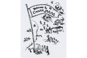 """A black and white illustration of a summer camp, including people at a bonfire, people dancing, people playing games, cabins, people canoeing, and more. The words """"Welcome to Camp JMM"""" are written in black in an illustration of a flag."""