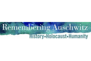 """A watercolor stripe of blues and greens runs horizontal on a white rectangle. The words """"Remembering Auschwitz"""" are white in the stripe. The words """"History, Holocaust, Humanity"""" are in the same watercolors underneath the stripe"""