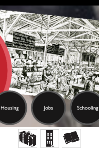 """A screenshot of the Voices of Lombard Street presentation, showing a black and white illustration of people working in a factory, and three buttons that say """"Housing"""", """"Jobs"""", and """"Schooling""""."""
