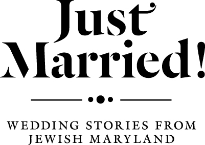 """A white rectangle with the words """"Just Married! Wedding Stories from Jewish Maryland"""" in black."""