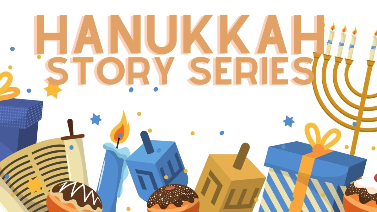 Colorful illustration of dreidels, donuts, wrapped gifts and candles. Text on image reads Hanukkah Story Series