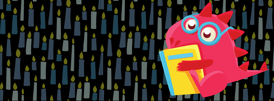 An adorable pinkish dinosaur wearing glasses sits with a book. The background is a black field covered in light blue candles.