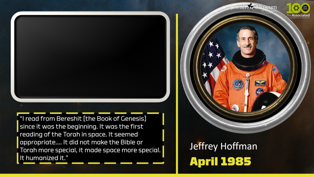 A screenshot of the digital Jews in Space tour, showing the slide that features Jeffrey Hoffman. There is a color-photograph of him in the slide, as well as a video screen and a quote.