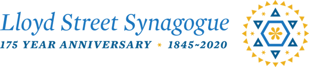 Blue, cursive text reads: Lloyd Street Synagogue. 175 Year Anniversary 1845 - 2020. A geometric design of a star of David is in blue and yellow.